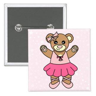 Cute Ballerina Dancing Teddy Bear - Pink Pinback Button