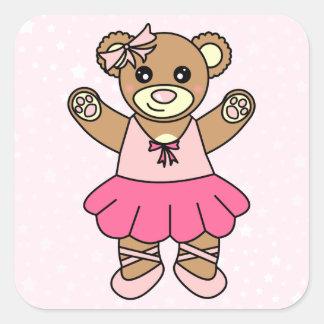 Cute Ballerina Dancing Teddy Bear - Pink Sticker