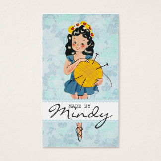 Cute ballerina girl knitting needles ball of yarn business card