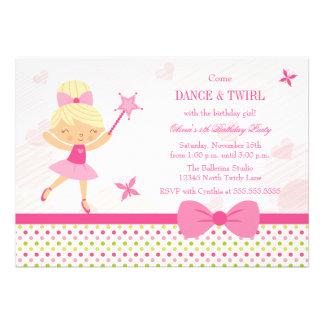 Cute ballerina girl's birthday party invitation