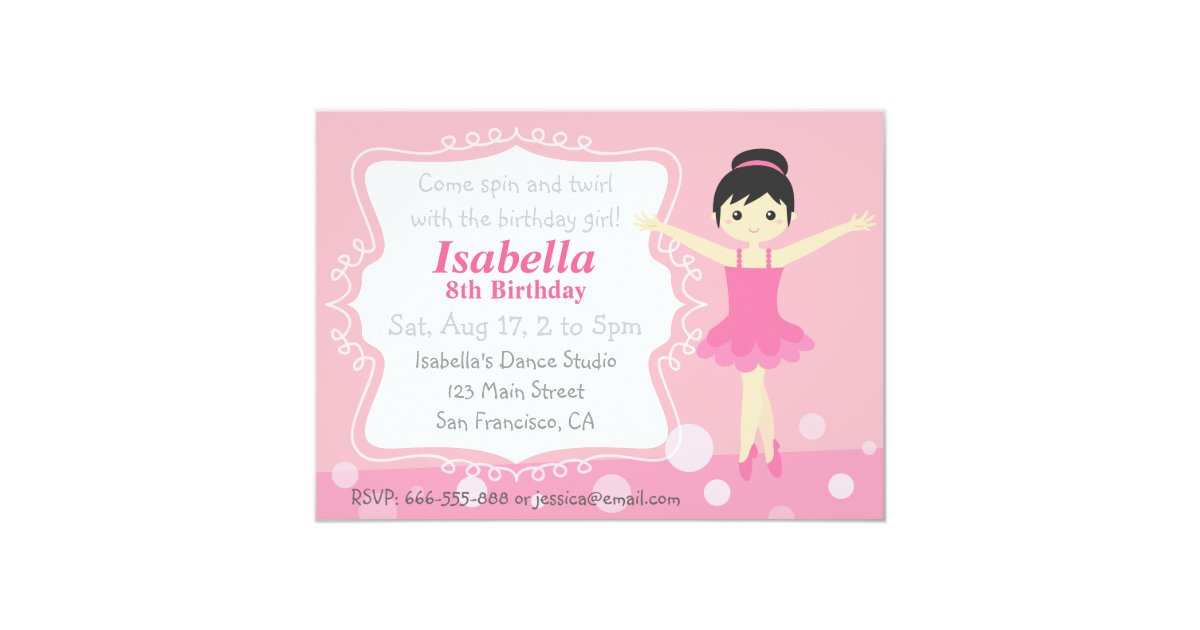 Cute Ballerina in Pink, Girl Birthday Party Card | Zazzle.com
