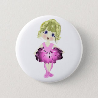 Cute Ballerina in Pink Tutu Art Gifts Button