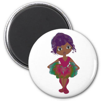 Cute Ballerina in Red and Green Tutu Art Magnets