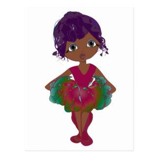 Cute Ballerina in Red and Green Tutu Art Postcard
