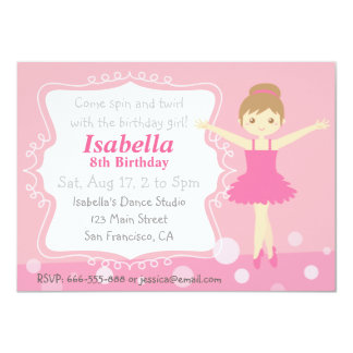 Cute Ballerina, Pink Girl Birthday Party Card