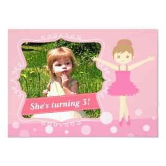 Cute Ballerina, Pink Girl Birthday Party Card