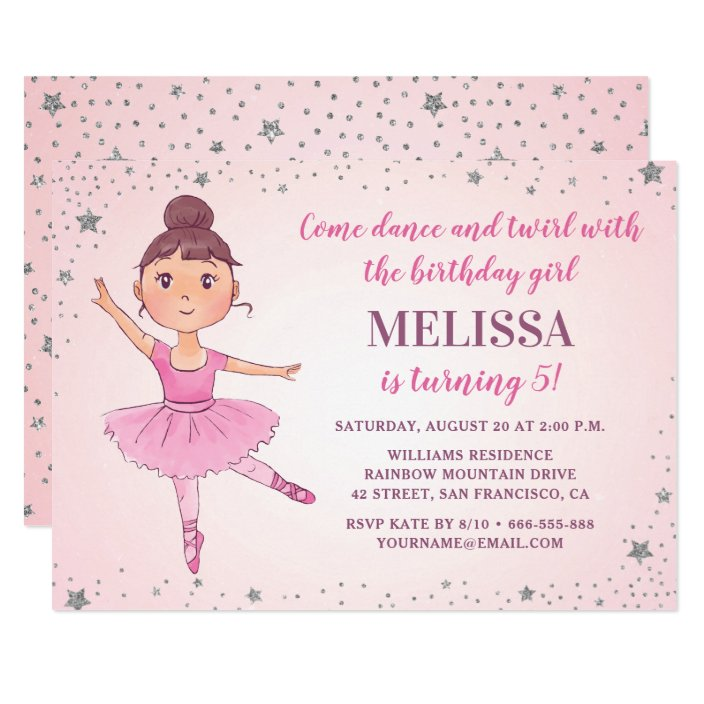 Silver /& Pink Stripes Ballerina Ballet Invitations Baby Shower Invitations
