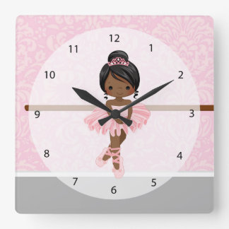 Cute ballerina square wall clock
