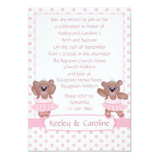 Cute Ballerina Teddy Bear in Pink Baptism Invites