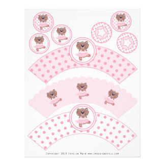 Cute Ballerina Teddy Bear Party Cupcake Wrappers Letterhead