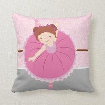 Cute Ballerina Throw Pillow