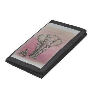 Cute Ballerina with Elephant Drawing Trifold Wallets