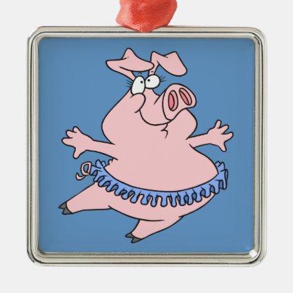 cute ballet ballerina piggy in a tutu pig ornament