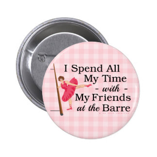 Cute Ballet Barre Funny Ballerina Dancer Gingham 2 Inch Round Button
