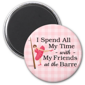 Cute Ballet Barre Funny Ballerina Dancer Gingham Magnet