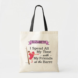 Cute Ballet Barre Funny Ballerina Dancer with Name Budget Tote Bag