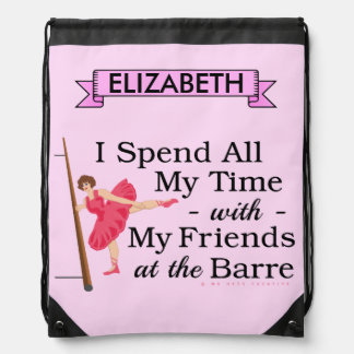 Cute Ballet Barre Funny Ballerina Dancer with Name Drawstring Bags