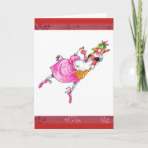 Cute Ballet Chicken Christmas Card