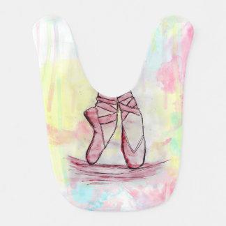 Cute Ballet shoes sketch Watercolor hand drawn Baby Bib