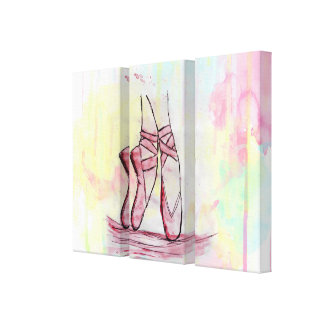 Cute Ballet shoes sketch Watercolor hand drawn Canvas Print