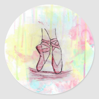 Cute Ballet shoes sketch Watercolor hand drawn Classic Round Sticker