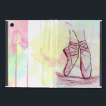 """Cute Ballet shoes sketch Watercolor hand drawn iPad Mini Cover<br><div class=""""desc"""">Cute Ballet shoes sketch Watercolor hand drawn design. personalize, White, grey, black, soft pink, hot pink, peacock blue, light blue, aqua green, soft green, yellow, bright soft pastel colors, watercolors paint, splatters, art, artwork, illustration, artistic, ballerina, feet, music, dance, balance, shoes, leg, lines, slippers, floating, point, trendy, girly, whimsical, happy,...</div>"""