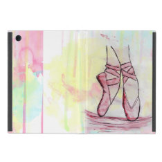 Cute Ballet Shoes Sketch Watercolor Hand Drawn Ipad Mini Cover at Zazzle