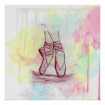 Cute Ballet shoes sketch Watercolor hand drawn Poster