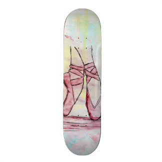 Cute Ballet shoes sketch Watercolor hand drawn Skateboard Deck