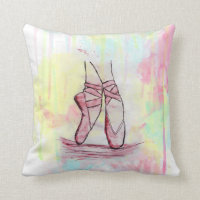 Cute Ballet shoes sketch Watercolor hand drawn Throw Pillow
