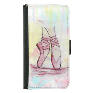 Cute Ballet shoes sketch Watercolor hand drawn Wallet Phone Case For Samsung Galaxy S5