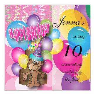 Cute Balloon Monkey Pink Birthday Card
