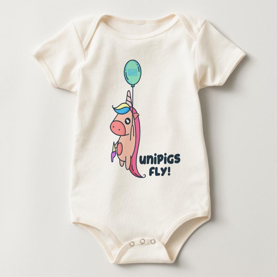 Cute Balloon Unipigs Fly Unicorn Pig Flying Unipig Baby Bodysuit - Adorable Baby Bodysuit Designs