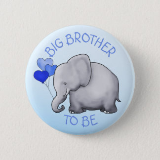 Cute Balloons Elephant Baby Shower Big Brother Button Zazzle_button