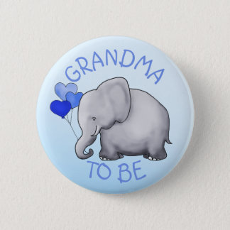 Cute Balloons Elephant Baby Shower Grandma-To-Be Pinback Button