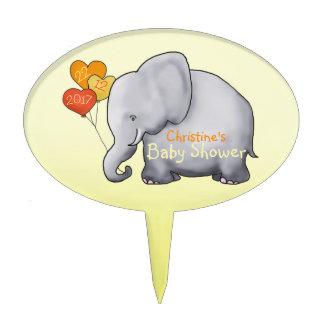 Cute Balloons Elephant Gender-Neutral Baby Shower Cake Topper