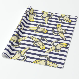 Cute Banana Illustrations on Navy Blue Stripes Wrapping Paper