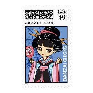 Cute Banzai Chicks Geisha Chibi Stamp