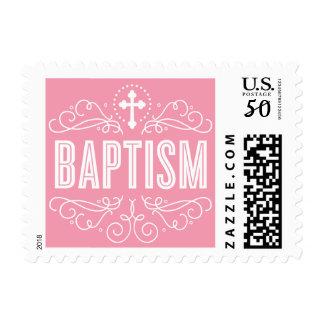 CUTE BAPTISM elegant swirls trendy lolly pink Postage