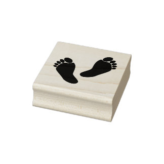 Cute Barefoot Feet 2 Inch Square Ink Stamp