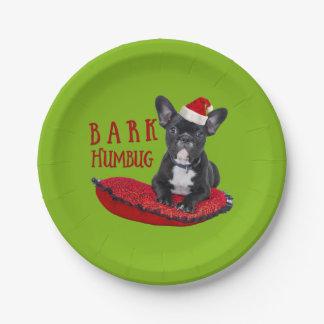 Cute BARK Humbug Festive French Bulldog Paper Plate