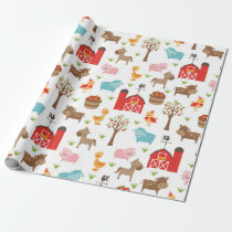 Cute Barn and Farm Animals Wrapping Paper
