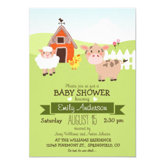 Cute Barn & Farm Animals, Farmer Theme Baby Shower 5x7 Paper Invitation Card