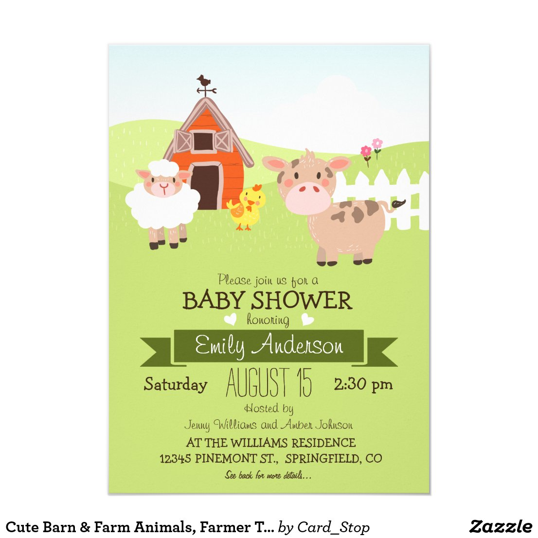 Cute Barn & Farm Animals, Farmer Theme Baby Shower Card