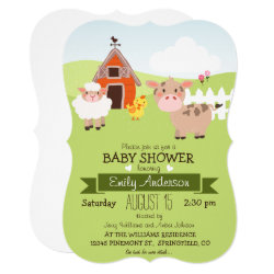 Cute Barn & Farm Animals Farmer Theme Baby Shower Invitation