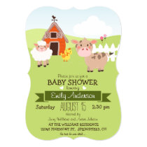 Cute Barn & Farm Animals Farmer Theme Baby Shower Invitation