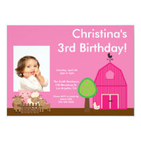 Cute Barn Yard Farm Animals Birthday Photo Invite