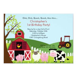 "Cute Barnyard Animal Fun Birthday Party 5"" X 7"" Invitation Card"