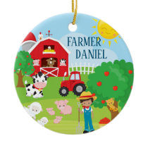 Cute Barnyard Animals, Farmer, Tractor Christmas Ceramic Ornament