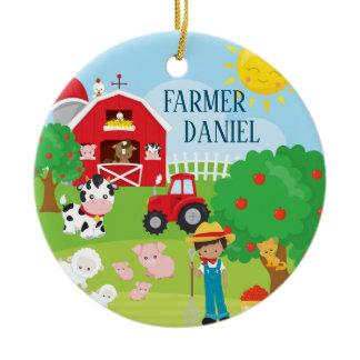 Cute Barnyard Animals, Farmer, Tractor Christmas Ceramic Ornament